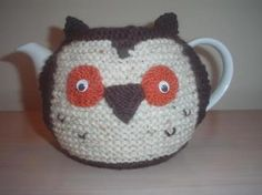 MY ORIGINAL HAND KNITTED OWL COZY. THIS CUTE OWL COZY WITH WIGGLY EYES WILL KEEP YOUR TEAPOT WARM OR JUST USE FOR DECORATION  $20