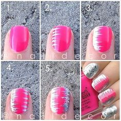 Step By Step Nail Art, Pink, White and Silver