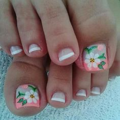 Toenail Art Designs, Pedicure Designs, Nail Polish Designs, Pretty Toe Nails, Cute Toe Nails, Cute Nail Art, Cute Pedicures, New Nail Art Design, Summer Acrylic Nails