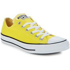 Converse Unisex Chuck Taylor All Stars Classic Low-Top Sneakers ($40) ❤ liked on Polyvore featuring shoes, sneakers, yellow, yellow shoes, converse shoes, star shoes, round toe sneakers and rubber sole shoes