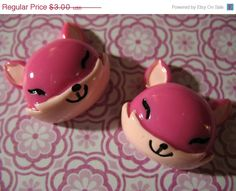 Summers End Sale 2 Large Pink Fox Cabs 24mm  by LunasSecrets, $2.40