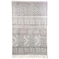Tæppe - Spring - Sort/hvid - 180*180 cm (str kan variere lidt)  | House Doctor - Klik for mere information