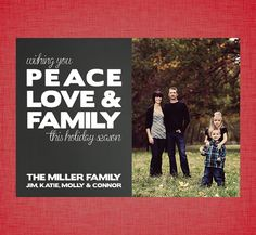 peace love family  photo christmas card  by prettyprintedpaper, $15.00