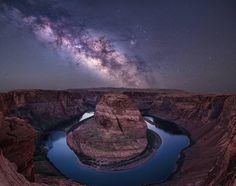 """presents the  N I G H T S C A P E R Photo Award to ... .  @taylor_franta .  Milky Way over Horseshoe Bend, Colorado River, Arizona. Congratulations to Taylor Franta. - Really? This view of Horseshoe Bend is due west — and the core of the Milky Way never aligns here like this. Taylor, unlike some on IG, gives us a full disclosure… - This is a 2 shot composite. """"Unfortunately the core of the milky way wouldn't line up over horseshoe bend, but I sure love to dream it! Clouds have been cramping…"""