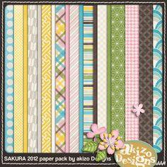 """""""Sakura 2012"""" : les papiers (sur le même post, un set d'embellissements assortis)"""