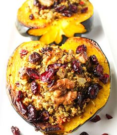 This Roasted Acorn Squash with Cranberry Walnut Quinoa Stuffing is a crowd favorite, it is also Vegan and Gluten Free! | Tastefulventure.com. Made Just Right. Plant Based. Earth Balance.
