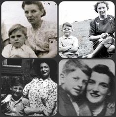 The Beatles with their Mothers: John and Julia, Paul and Mary, George and Louise, Ringo and Elsie