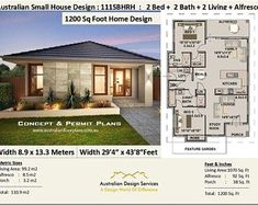 1200 sq foot house plan or 9 2 bedroom 2 bathroom house plan 111 sbh small & tiny house plans cheap small home plans. Small Tiny House, Small House Design, House Plans One Story, Story House, Small House Plans, House Floor Plans, House 2, Cottage House, Small Homes