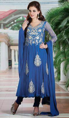Sparkling Blue Anarkali Chudidar Kameez Price: Usa Dollar $144, British UK Pound £85, Euro106, Canada CA$155 , Indian Rs7776.