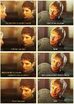 I love this because you think that Arthur is saying something very deep and Merlin too, but really it just ends up funny. But, considering the end of Merlin, it really isn't that funny at all. Merlin And Arthur, King Arthur, Merlin Funny, Merlin Merlin, Merlin Fandom, Bradley James, Colin Morgan, Boi, Merlin Quotes
