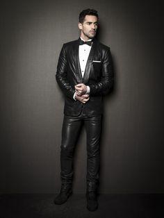 "lamarquelmc: "" Leather tuxedo jacket and leather trouser by LAMARQUE Men's FW13 Collection. Shop LAMARQUE """