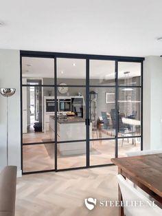 Kitchen Glass Doors, Kitchen Sliding Doors, Sliding Barn Door Lock, Kitchen Under Stairs, Snug Room, Hallway Inspiration, Inside Doors, Pantry Design, Loft Design