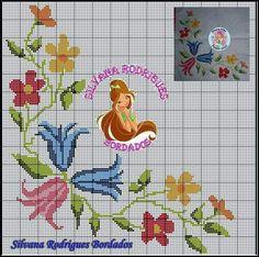 Ponto cruz Cross Stitch Borders, Cross Stitch Flowers, Cross Stitch Designs, Cross Stitch Patterns, Embroidery Patterns, Hand Embroidery, Machine Quilting, Needlework, Alphabet