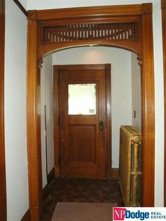 Stained Wood Trim, Door Design, House Design, Moldings, Crown Molding, Foyer, Future House, Bungalow Ideas, Arch