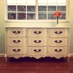 My Annie Sloan Chalk Paint french provincial dresser makeover!! :) I used ASCP Pure White on the dresser (with the clear Annie Sloan Wax) and Rust Oleum Oil-Rubbed Bronze spray on the handles.