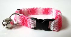 Adjustable Cat Collar Shades of Pink with Bell by BrumbysYarns, $10.00
