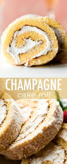 This light and spongey champagne cake roll is flavored with reduced champagne and vanilla and filled with champagne whipped cream to make a. Easy Desserts, Delicious Desserts, Dessert Recipes, Yummy Food, Champagne Cake, Champagne Recipe, Cake Roll Recipes, Cupcake Recipes, Yummy Treats