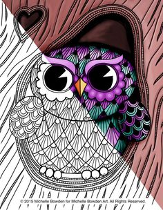Coloring Page Printable  Owl Tree Zendoodle by MichelleBowdenArt