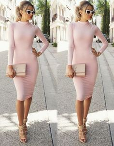 Very sassy and stylish blush pink long sleeve dress. Material: Spandex Color: Light Pink Collar: High Collar Sleeve: Long Sleeve Style: Stretch, Bodycon Dress Length: Knee Length Pattern: Solid Occasi
