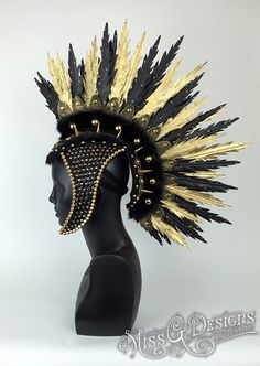 READY TO SHIP Gold & Black Faux Feather Mohawk by MissGDesignsShop