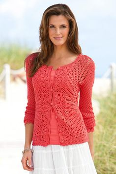 Chadwicks crochet cardigan in vermillion       ♪ ♪ ... #inspiration #crochet  #knit #diy GB