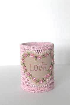 PINK Crochet Pencil Holder LOVE Shabby Chic Office Decorating Desk Accessory