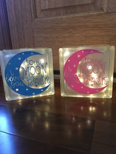 to frost a glass block craft ideas GLASS BLOCK NIGHTLIGHT, i love you to the moon and back, childrens nightlight Decorative Glass Blocks, Lighted Glass Blocks, Glass Cube, Glass Boxes, Cubes, Glass Block Crafts, Glass Craft, Vynil, Wood Craft Patterns