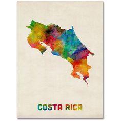 Trademark Fine Art 'Costa Rica Watercolor Map' Canvas Art by Michael Tompsett, Multi