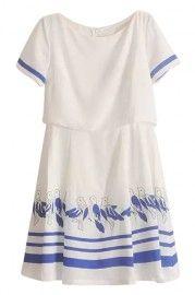 ROMWE Striped Bird Print Zippered White Dress