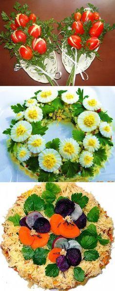 Food art deviled egg on top of potato salad Food Design, Design Design, Floral Design, Food Carving, Vegetable Carving, Food Garnishes, Garnishing Ideas, Edible Arrangements, Flower Arrangements
