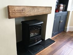 Our hand crafted oak fascia beams are ideal to add that extra bit of character to your fireplace. Each fascia beam is cut from larger air dried oak beams so they contain lot of interesting character. Fireplace Mantle Shelf, Wood Burner Fireplace, Oak Mantel, Wooden Fireplace, Wood Mantle, Oak Fire Surround, Stairs Cladding, Log Burner Living Room, Oak Stairs