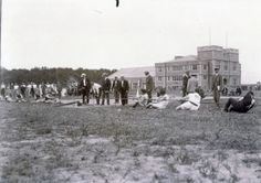 Greek team vs. St. Louis Turners #2 during the Tug of War competition at the 1904 Olympics.