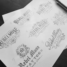 Rebel Muse Tattoo logo design concepts #logo #design #lettering # handlettering #tattoo #graphicdesign #drawing #typography #calligraphy #customlettering #blackandwhite