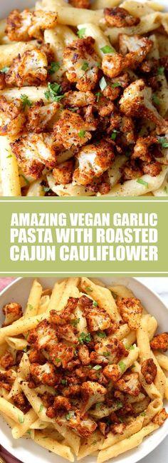 cauliflower roasted garlic vegan pasta cajun with ve Vegan Garlic Pasta with Roasted Cajun Cauliflower VeYou can find Pasta recipes and more on our website Vegan Dinner Recipes, Vegan Recipes Easy, Cooking Recipes, Cajun Dishes, Pasta Dishes, Cauliflower Pasta, Cauliflower Roasted, Roasted Garlic, Cauliflower Steaks