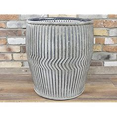 d011539b7c3 Large Galvanised Zinc Dolly Tub Plant Pot Barrel Garden Flower Planter 100  Litre  Amazon.