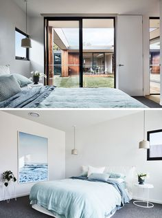 In this modern bedroom, light blue accents create a calm and relaxing environment, while the sliding door and a window provide plenty of natural light. #ModernBedroom #LightBlue