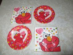 "Sesame Street's Elmo Valentine's Day Holiday Party Supplies 7"" plates 13"" Napkin #ContempoColours #ValentinesDay"