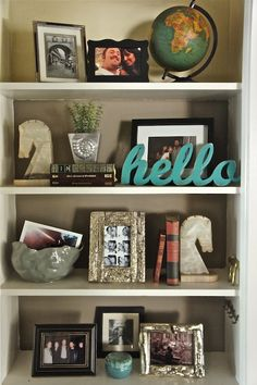 Pretty book shelf arrangement