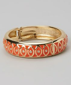Another great find on #zulily! Gold & Coral Bangle #zulilyfinds