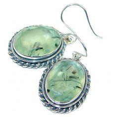 Authentic Moss Prehnite .925 Sterling Silver handmade earrings