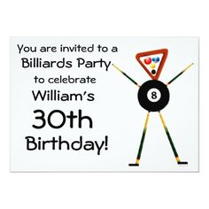 Shop Birthday Billiards Party Invitation created by Graphix_Vixon. Easter Birthday Party, Pool Party Birthday Invitations, Sports Birthday, 30th Birthday, Birthday Parties, Birthday Ideas, Milestone Birthdays, You Are Invited, Custom Invitations