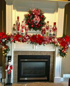 Here are 100 Best Christmas Mantel Decorations. Take inspiration for the perfect Christmas Fireplace decor, that include various themes & traditional styles Diy Christmas Fireplace, Christmas Mantels, Christmas Home, Victorian Christmas, Pink Christmas, Christmas Trees, Vintage Christmas, Christmas Ornaments, Merry Christmas Gif