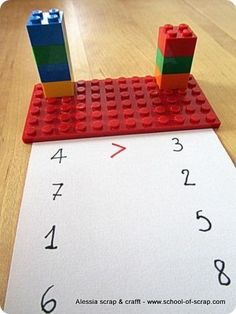 Awesome way to teach greater than and less than! Build it and mark it.