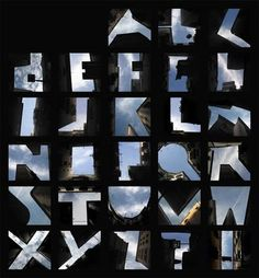 Letterforms from negative city spaces