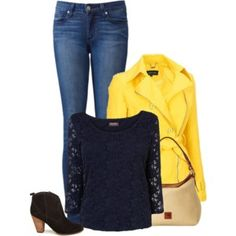 Yellow Jacket, dark wash straight leg jeans, black lacy top, black ankle boots.