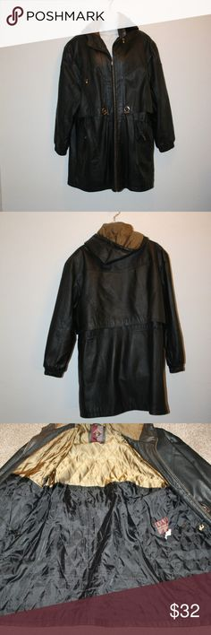 """GIII Black Leather Jacket XL Hooded Zip Front C:54 G III Very Good Condition NOTE:  There is a small amount of wear near the front collar by the hood and the sleeve hems -  See photos. Black Womens Zip Front Two Front Zippered Pockets No Inside Pocket Size:  XL Hood With Drawstring Quilted Style Lining Drawcord on Inside at Waist    Chest:  54"""" Length:  36"""" Collar To Shoulder Seam:  8"""" Shoulder Seam To Sleeve Hem:  23"""" Shoulder Seam to Shoulder Seam:  23 1/4"""" Shell:  100% Leather Lining…"""