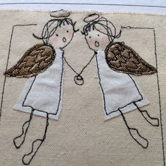 Items similar to ANGEL Christmas Holiday card. Freehand Machine Embroidery, Free Motion Embroidery, Free Machine Embroidery, Free Motion Quilting, Fabric Cards, Fabric Postcards, Christmas Sewing, Handmade Christmas, Christmas Angels