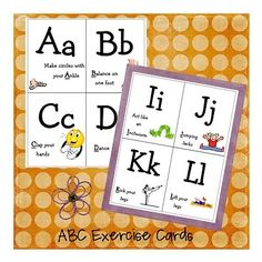 exercise cards - alphabet activities