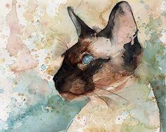 Siamese Cat Art Print of my Watercolor painting by rachelsstudio, $25.00