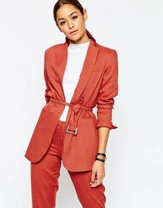 ASOS Premium Longline Suit Blazer with Belt